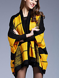 Women's Casual/Daily Simple Long Cloak / Capes,Print Green / Yellow Collarless Long Sleeve Acrylic Spring Medium Inelastic