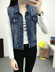 Women's Casual/Daily Simple Fall Denim Jackets,Solid Stand Sleeveless Blue Cotton Medium