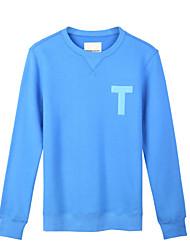 Trenduality® Hommes Col Arrondi Manche Longues T-shirt Bleu - 47046
