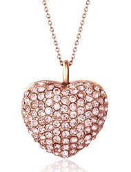 Fashion Full Rhinestone Inlay Heart Shape Titanium Steel Four Pendant Necklace