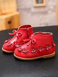 Girl's Boots Fall Winter Other Comfort Cowhide Outdoor Casual Flat Heel Bowknot Zipper Flower Black Red Gray Other