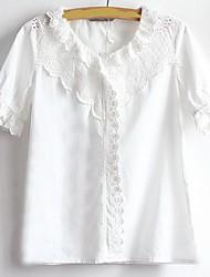 Женский На каждый день Лето Рубашка V-образный вырез,Простое Однотонный Белый С короткими рукавами,Хлопок,Средняя
