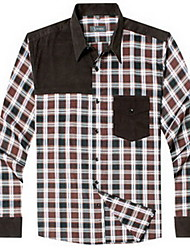 Men's Plus Size / Casual/Daily Simple Spring / Fall Shirt,Solid / Houndstooth Shirt Collar Long Sleeve Red / Black / Green Cotton Medium