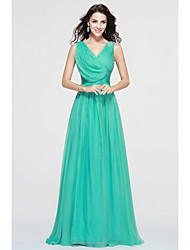 Bridesmaid Dress Floor-length Chiffon Elegant - A-line V-neck with Side Draping