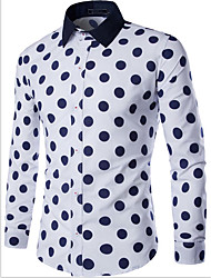 Men's Casual/Daily Simple Shirt,Polka Dot Classic Collar Long Sleeve Blue / White / Multi-color Cotton