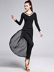 Latin Dance Outfits Women's Performance Chiffon / Milk Fiber / Modal Draped 2 Pieces Long Sleeve High Top / Pants / Skirt / Shorts