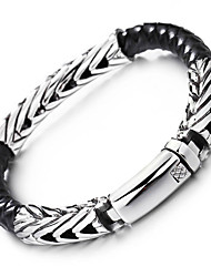 Kalen 1PC Fashion Braided Leather Bracelets 316 Stainless Steel High Polishing Charm Bracelets 220*8mm Bangles Men's Jewelry