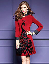 Women's Embroidery Plus Size / Going out Street chic Sheath Dress,Embroidered Stand Above Knee Long Sleeve Red / Black Polyester Fall / WinterMid