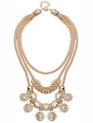 Euramerican Alloy Women Fashion Bohemian Ethnic Exaggerated Retro Beads Multilayer Necklace 1pc Gift Gold / Black