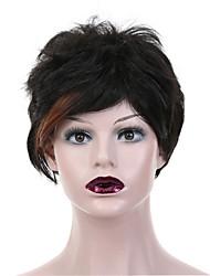 reta curta mistura de cor marrom partido preto sintético hesistant calor peruca cosplay das mulheres