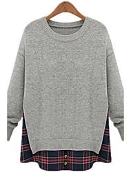 Large yards women Long sleeves Round neck Fake two Splicing lattice sweater