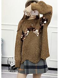 Damen Lang Pullover-Lässig/Alltäglich Einfach Solide Grau Grün Rundhalsausschnitt Langarm Baumwolle Acryl Polyester Winter Mittel