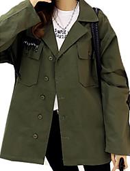 Женский На выход / На каждый день Однотонный Куртка Воротник Питер Пен,Секси / Уличный стиль Осень / Зима Черный / Зеленый Длинный рукав,