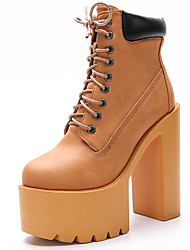 Women's Boots Spring / Fall / Winter Gladiator Synthetic Office & Career / Party & Evening / Casual Chunky Heel Black / Yellow / White