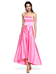 TS Couture Prom Formal Evening Dress - Open Back A-line Strapless Asymmetrical Satin with Sash / Ribbon