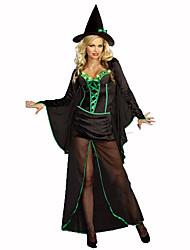 Sorcier/Sorcière Fête / Célébration Déguisement Halloween Noir / Vert Couleur Pleine / Lace Robe / Chapeau / CapeHalloween / Noël /