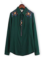 Feminino Camisa Social Casual Simples Primavera,Bordado Azul / Verde Algodão Colarinho de Camisa Manga Longa