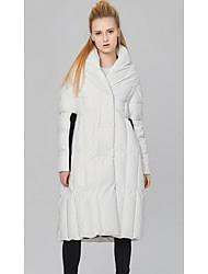 Damen Daunen Mantel,Standard Einfach Lässig/Alltäglich Schachbrett-Polyester Weiße Entendaunen Langarm Weiß Rollkragen