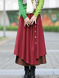 Mujer Faldas,Línea A Un Color Tiro Alto Noche Midi Botón Algodón Micro-elástica All Seasons