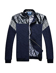Men's Plus Size Sexy Jackets,Solid Long Sleeve Blue Cotton
