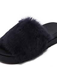 Women's Slippers & Flip-Flops Fall / Winter Slingback Fur Casual Platform Others Black / Blue / Gray / Burgundy Others