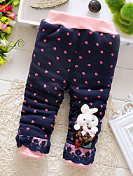 Girl Sports Polka Dot Pants-Cotton Winter