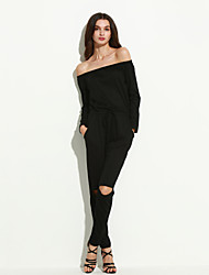 Women's Solid Jumpsuits,Simple Boat Neck Long Sleeve