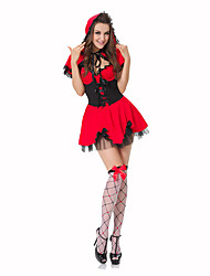 Princesse Conte de Fée Fête / Célébration Déguisement d'Halloween Rouge Noir Imprimé Robe ChâleHalloween Noël Carnaval Le Jour des