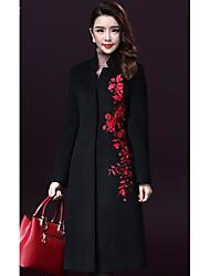 Feminino Casaco Casual Tamanhos Grandes Simples Inverno, Bordado Vermelho Preto LãManga Longa Grossa