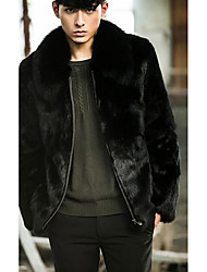Men's Going out / Casual/Daily Vintage Fur Coat,Solid Shirt Collar Long Sleeve Fall / Winter Black Faux Fur Medium