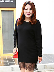 Mujer Regular Pullover Tallas Grandes Casual/Diario Simple,Un Color Negro Escote Redondo Manga Larga Poliéster Otoño Invierno Medio