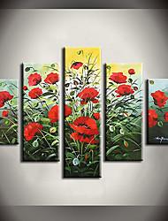Pintados à mão Abstracto / Floral/Botânico Pinturas a óleo,Modern / Pastoril 5 Painéis Tela Hang-painted pintura a óleo For Decoração