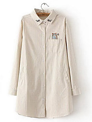 Women's Going out Simple Fall Shirt,Striped Shirt Collar Long Sleeve Multi-color Cotton Medium