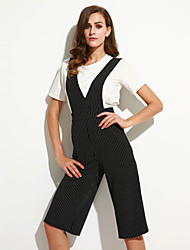Women's Striped Black / Gray Jumpsuits,Work / Boho V Neck Sleeveless