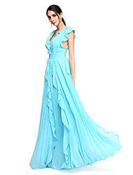 TS Couture® Formal Evening Dress - Beautiful Back / Celebrity Style A-line V-neck Floor-length Chiffon withRuffles / Side Draping /