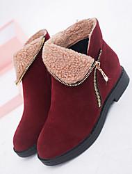 Women's Boots Winter Comfort Leatherette Casual Flat Heel Black Brown Burgundy