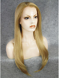 IMSTYLE 24''Top Quality Heat Resistant Mix Light Blonde Long Natural Straight Synthetic Lace Front Wigs