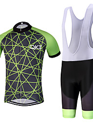 QKI GreenLight Pro Cycling Jersey with Bib Shorts Men's Short Sleeve BikeBreathable / Quick Dry /reflective stripe/5D coolmax gel pad