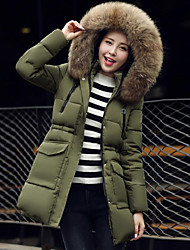 Women's Long Padded Coat,Street chic / Sophisticated Formal / Club Solid-Cotton Cotton Long Sleeve Hooded Black