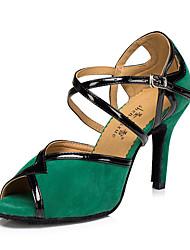 Chaussures de danse(Noir / Vert / Rouge) -Personnalisables-Talon Bottier-Cuir-Latine / Jazz / Baskets de Danse / Moderne