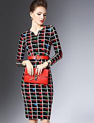 Damen Tunika Kleid-Formal Anspruchsvoll Druck V-Ausschnitt Knielang Langarm Schwarz Andere Herbst / Winter Hohe Hüfthöhe Mikro-elastisch