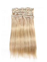 9pcs / set clipe na cor do cabelo extensões de piano misturado cabelo humano de 16 polegadas 20 polegadas 100% reta loira para as mulheres
