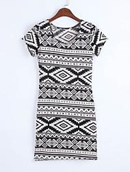 das mulheres u pescoço mini vestido, lycra branca impressão / bodycon