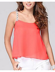 Women's Going out Simple Summer Tank Top,Solid Round Neck Sleeveless Brown Cotton Sheer