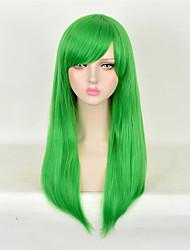 longue ligne droite de couleur verte synthétique perruques perruques bon marché pour la fête des femmes de la mode