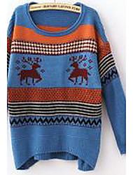 Damen Standard Pullover-Ausgehen Einfach Einfarbig Blau Braun Orange Gelb Rundhalsausschnitt Langarm Baumwolle Herbst Mittel