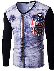 Tee-shirt Hommes,Galaxie Décontracté / Quotidien simple Printemps / Automne Manches Longues Col en V Noir / Gris Coton Moyen