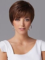 Cheap Synthetic Wigs Short Straight Hair Brown Wig Cap With Bangs For Women Hot sale Hairpiece