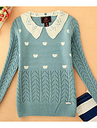 Women's Casual/Daily Simple Short Pullover,Polka Dot Blue Red Multi-color Shirt Collar Long Sleeve Acrylic Spring Fall Medium