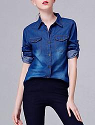 Chemise Femme,Couleur Pleine Sortie / Décontracté / Quotidien simple / Sophistiqué Toutes les Saisons Manches Longues Col de Chemise Bleu